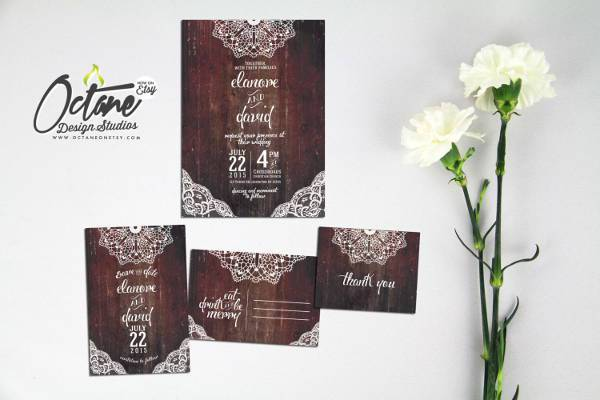 brown rustic lace wedding invitation