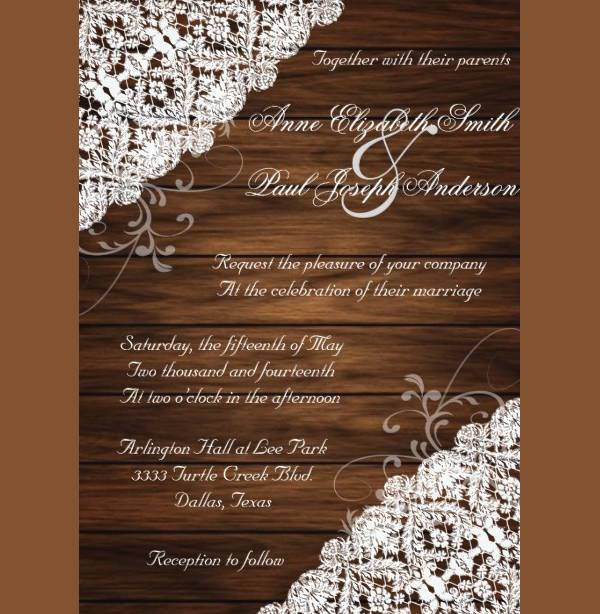 printable rustic lace wedding invitation