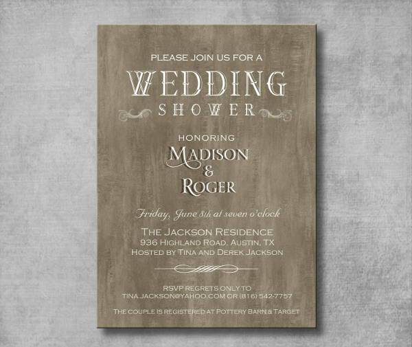 rustic elegant wedding shower invitation