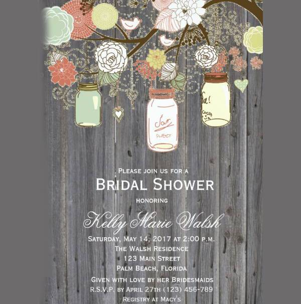 rustic country wedding shower invitation