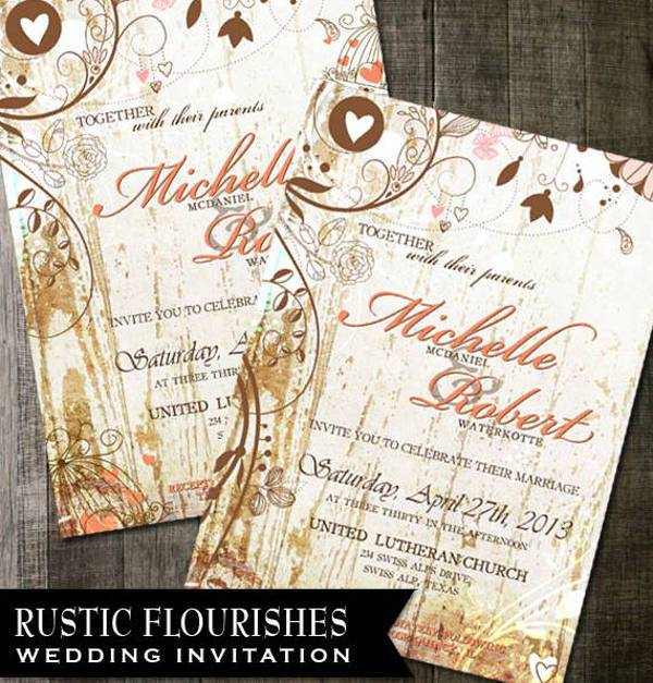rustic shabby chic wedding invitation1