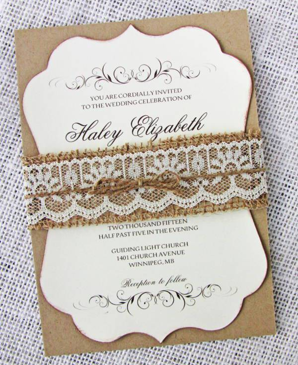 rustic burlap lace wedding invitation