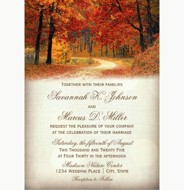 rustic fall autumn wedding invitation