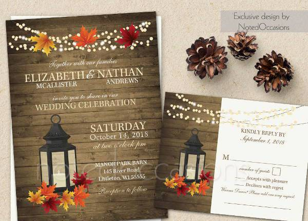 rustic fall lantern wedding invitation