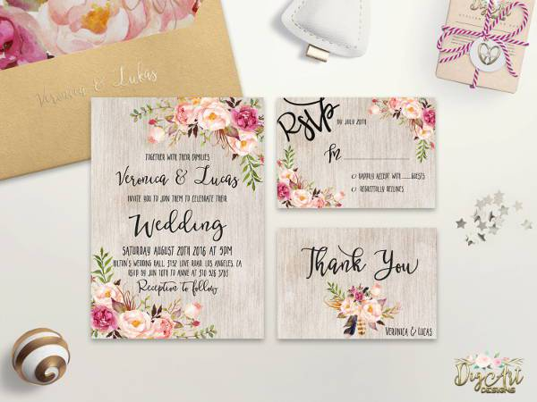 rustic boho floral wedding invitation