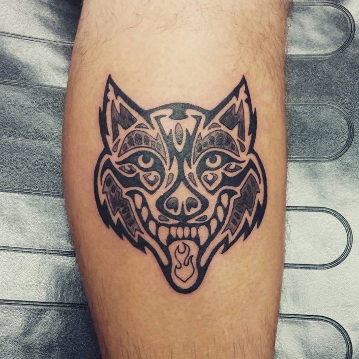 Tribal Wolf Head Tattoo Design