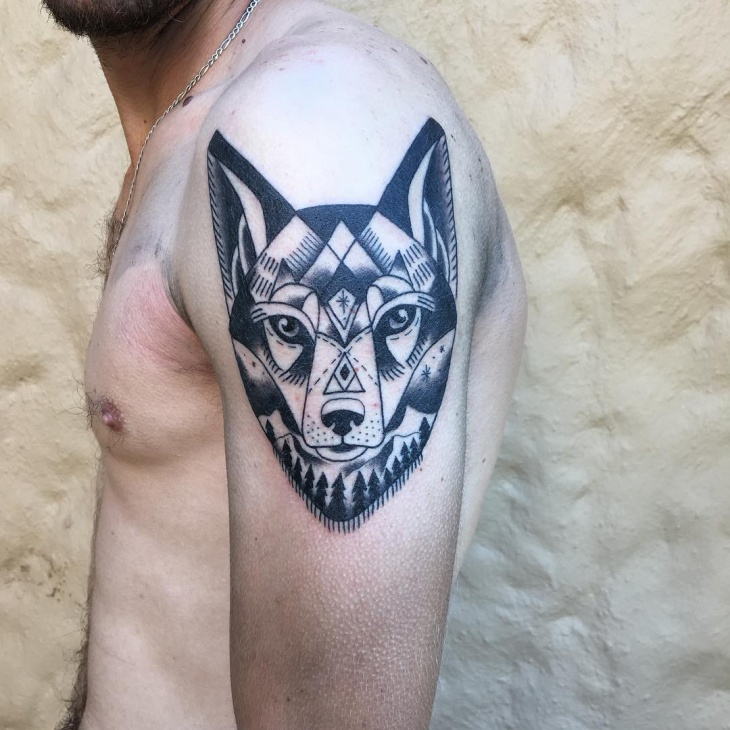 geometric wolf head tattoo for men