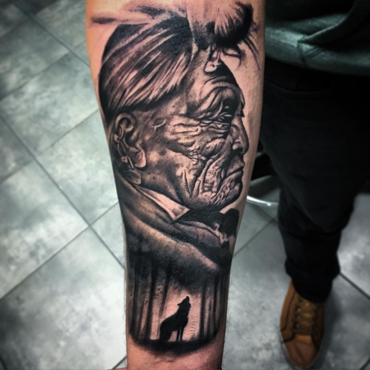 Lone Wolf Tattoo on Sleeve