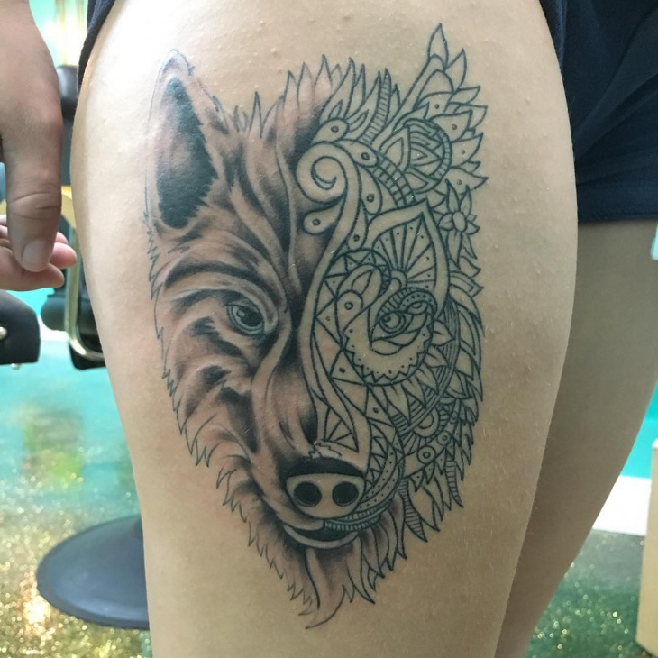 Mandala Wolf Tattoo on Thigh