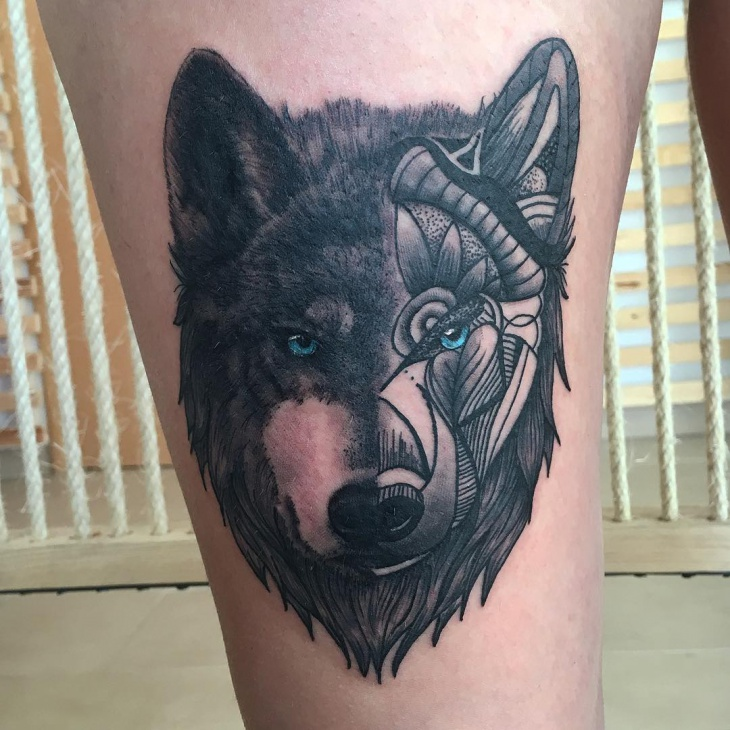 mandala wolf tattoo on leg