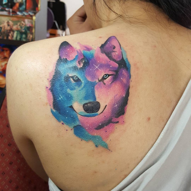 wolf shoulder tattoo for women