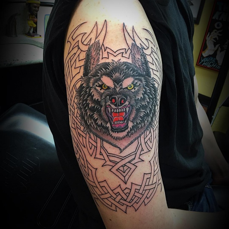 Wolf Half Sleeve Tattoo Design
