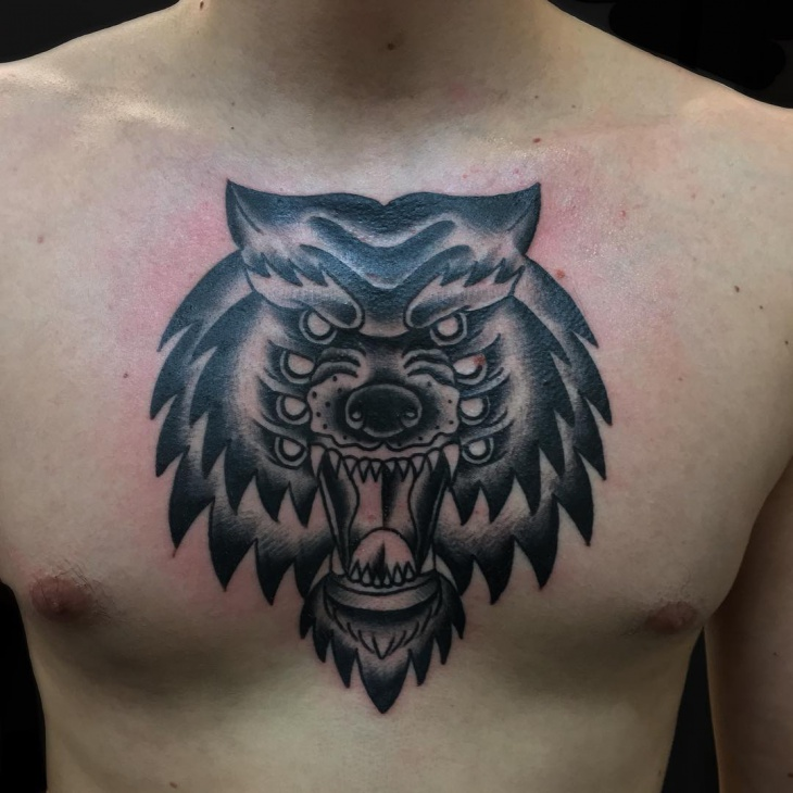 3d howling wolf tattoo for men