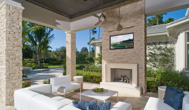 outdoor faux stone fireplace