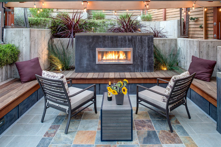 small outdoor gas fireplace