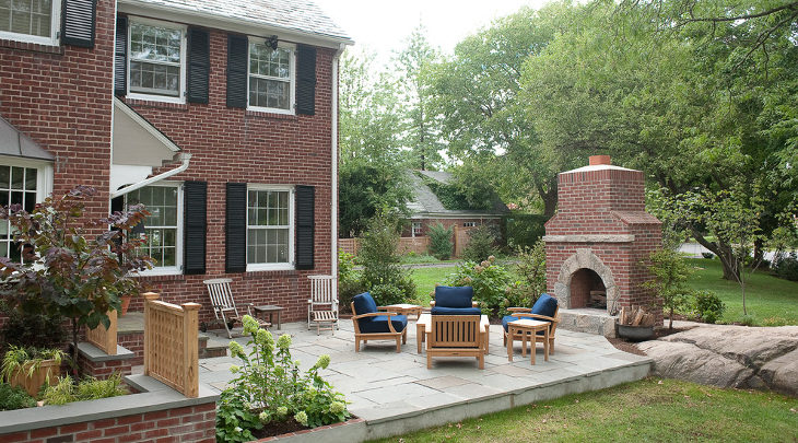 small outdoor brick fireplace