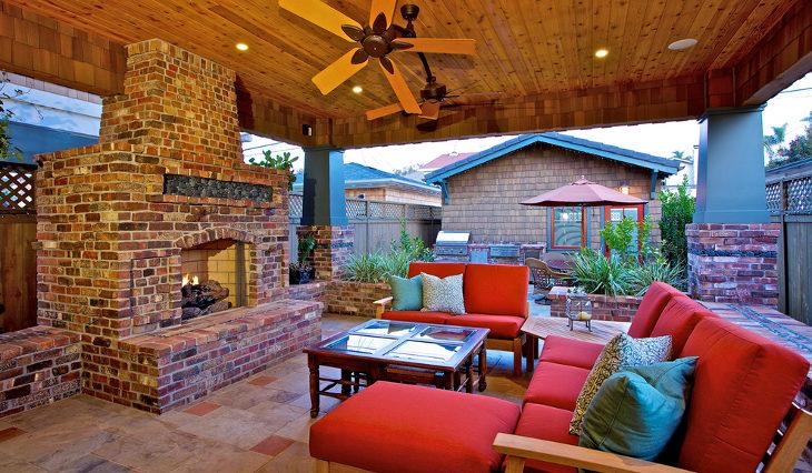 outdoor patio brick fireplace