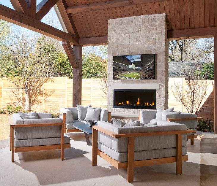 small modern outdoor fireplace