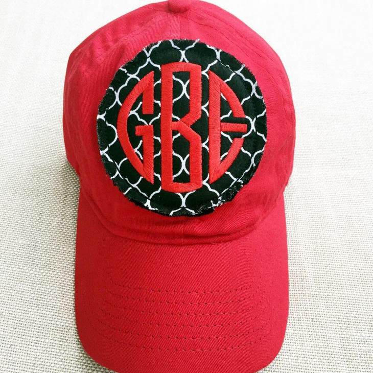 red monogrammed preppy hat