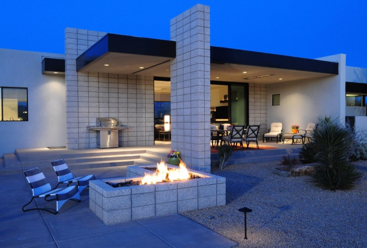 Concrete Block Outdoor Fireplace