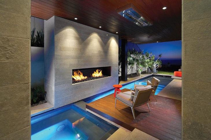 contemporary outdoor gas fireplace design