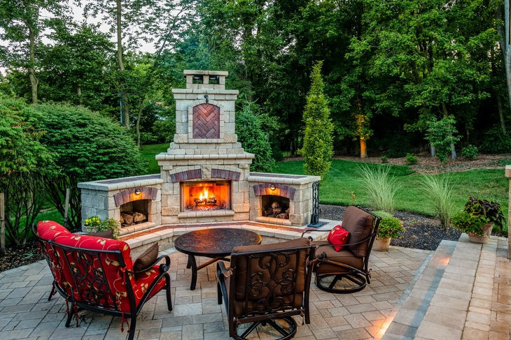 outdoor brick corner fireplace