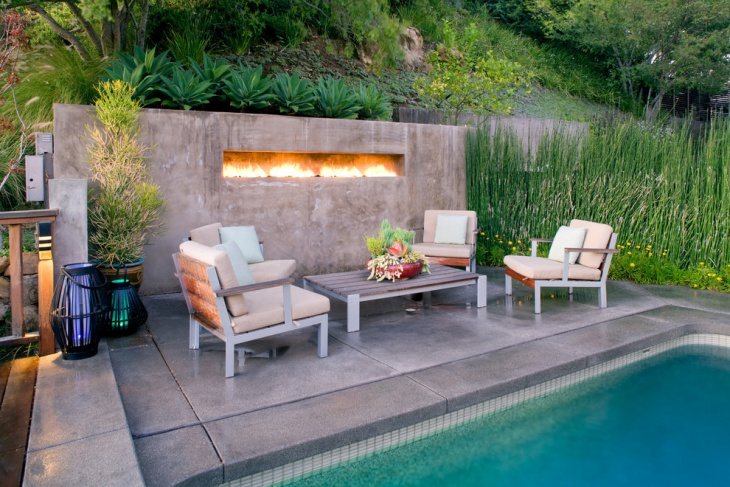 outdoor gas wall fireplace