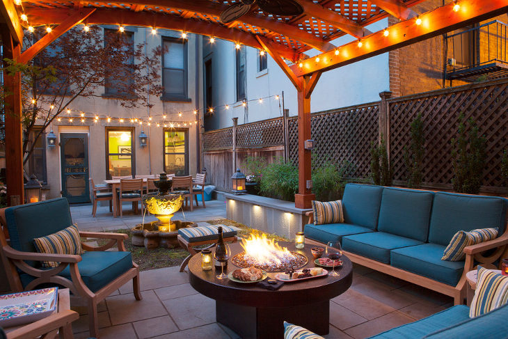 modern round outdoor fireplaces