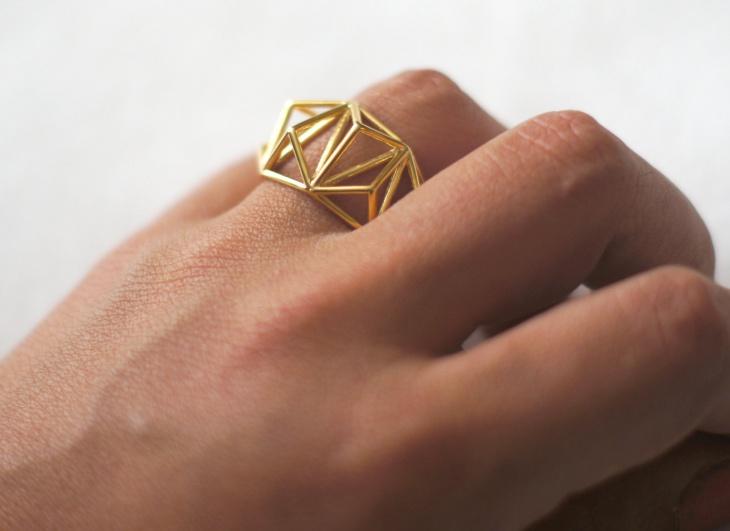 Geometric Prism Cage Ring