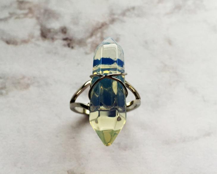 Natural Opalite Prism Ring