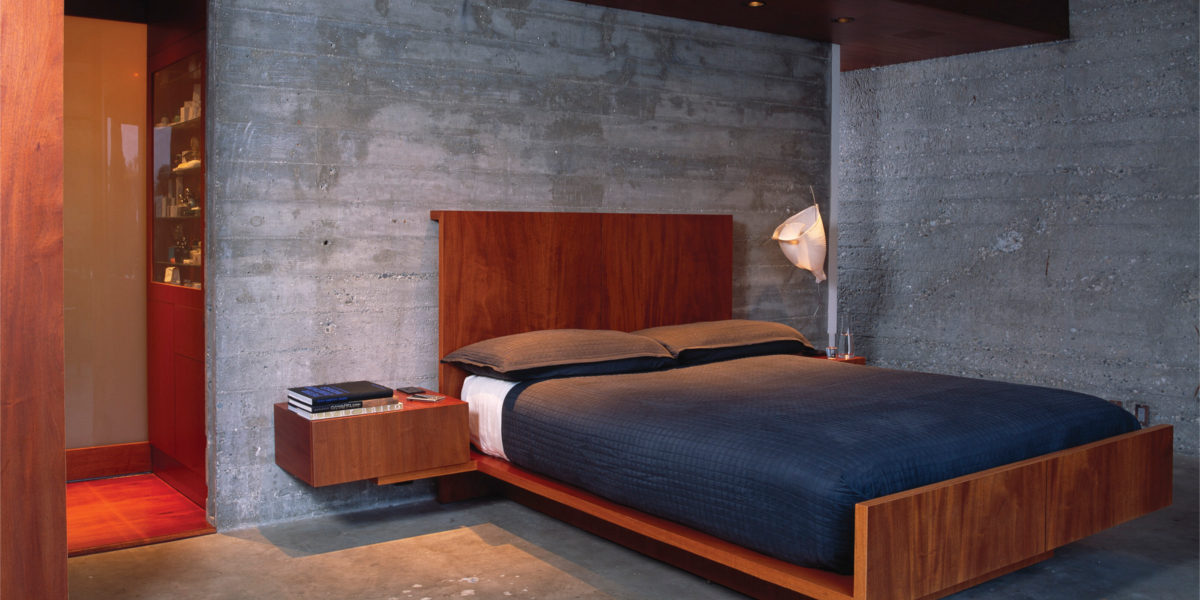 small wooden platform bed