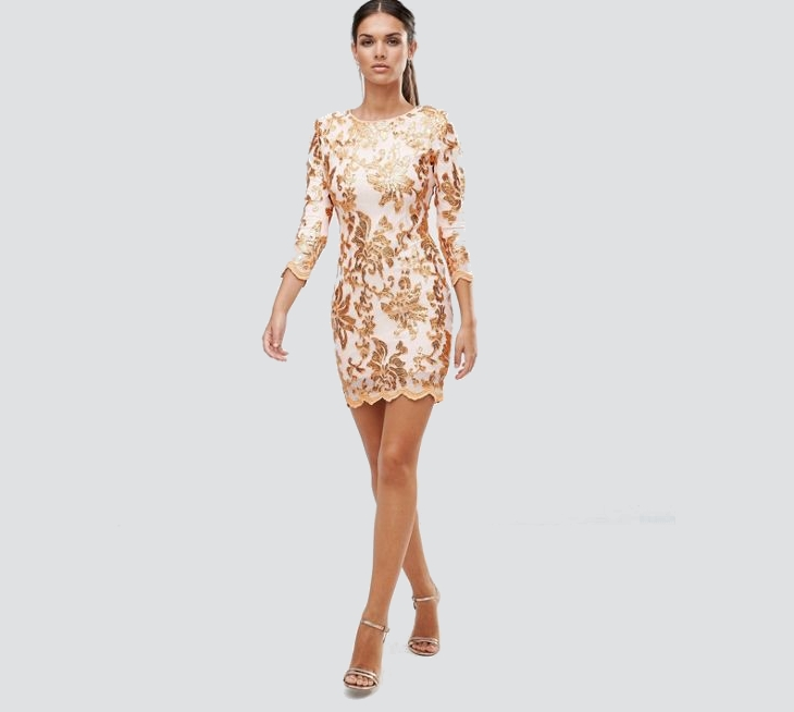 Gold Sequin Long Sleeve Dress