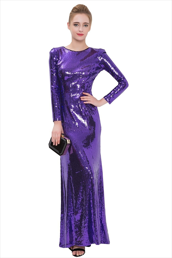 Sequin Long Sleeve prom Dress