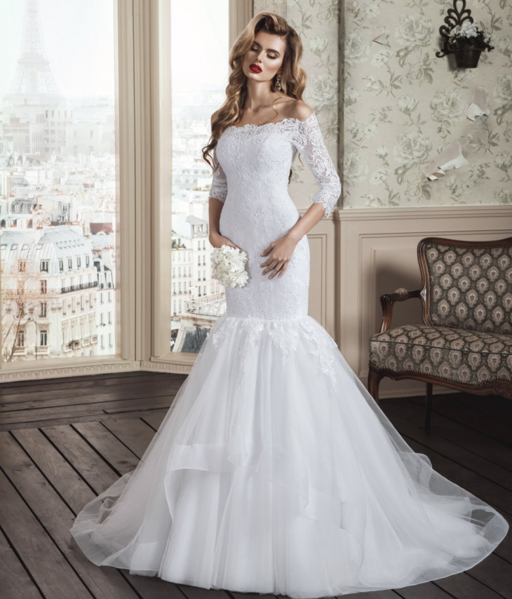 long sleeve wedding mermaid dress