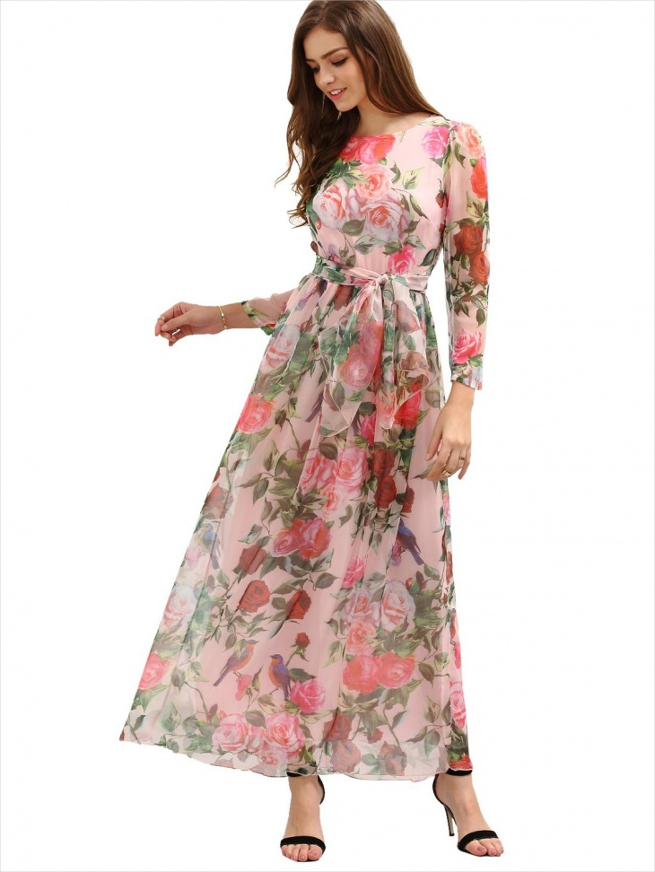 Long Sleeve printed Floral Dress