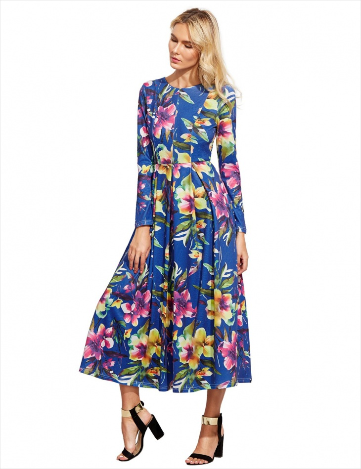 long sleeve floral maxi dress2