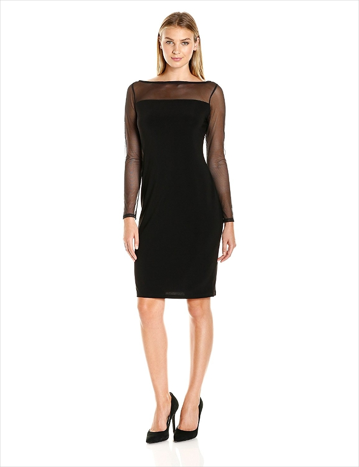 long sleeve black sheath dress