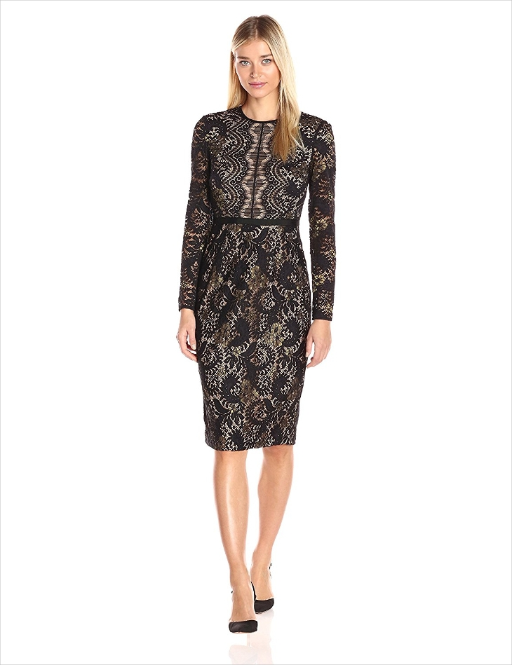 Long Sleeve Lace Sheath Dress