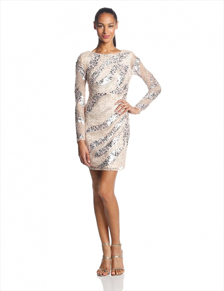 Short Beaded Long Sleeve Dress