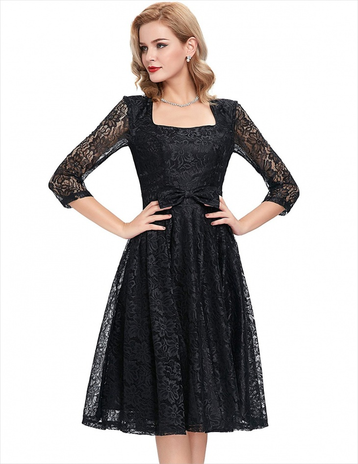 Vintage Long Sleeve Black Dress
