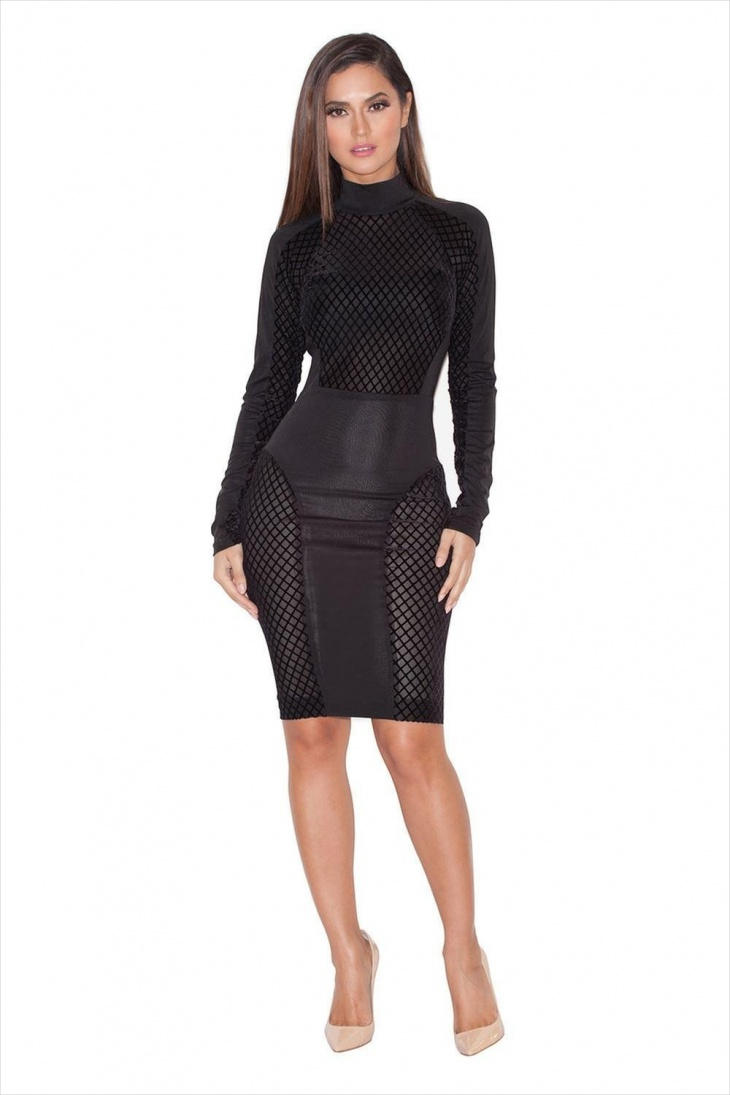 Long Sleeve Leather Club Dress