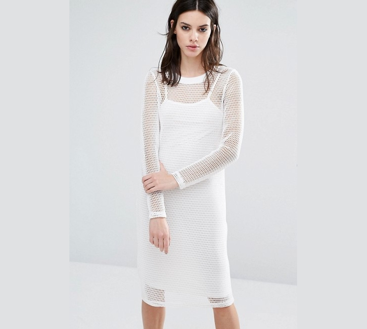 White Long Sleeve Mesh Dress