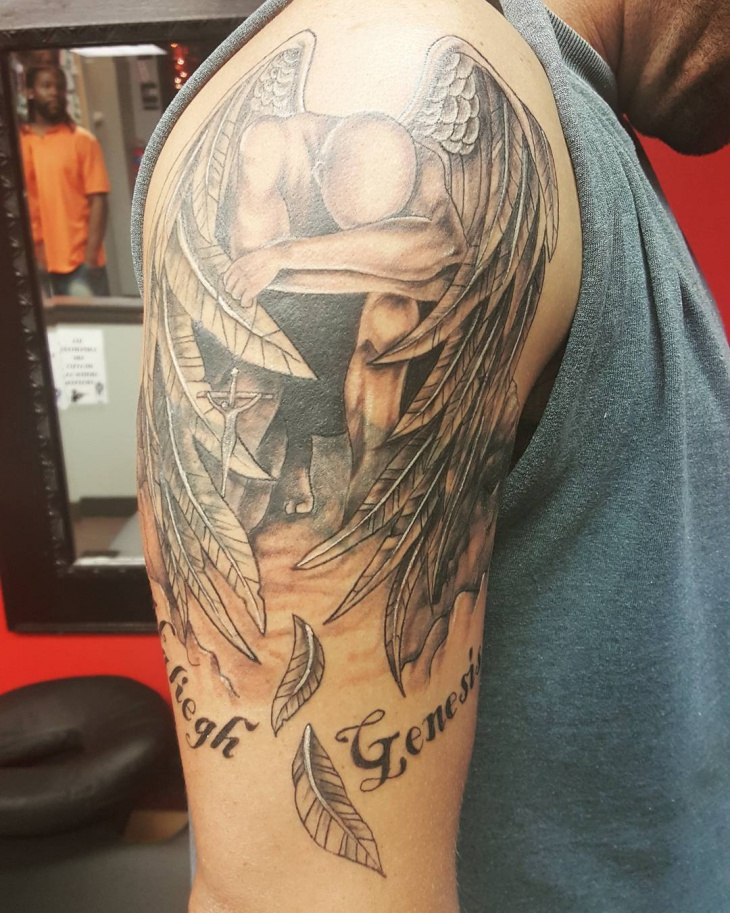 angel tattoos on upper arm