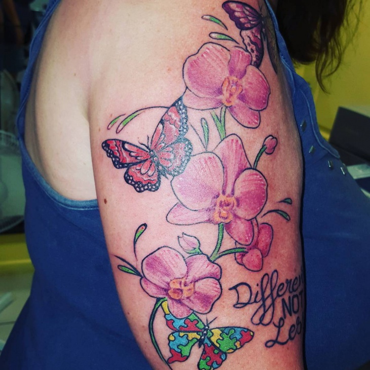 flower butterfly arm tattoo