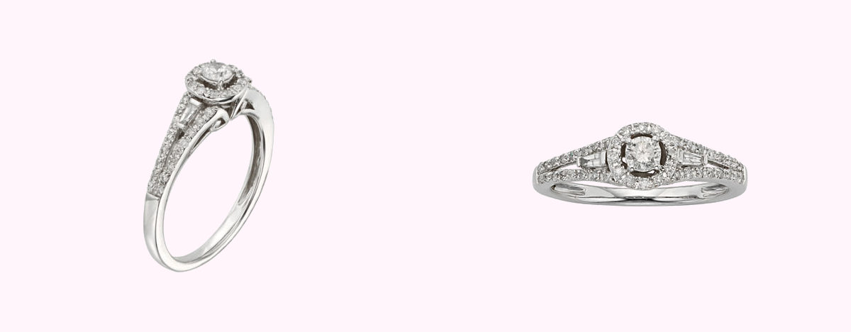 arched white gold promise ring