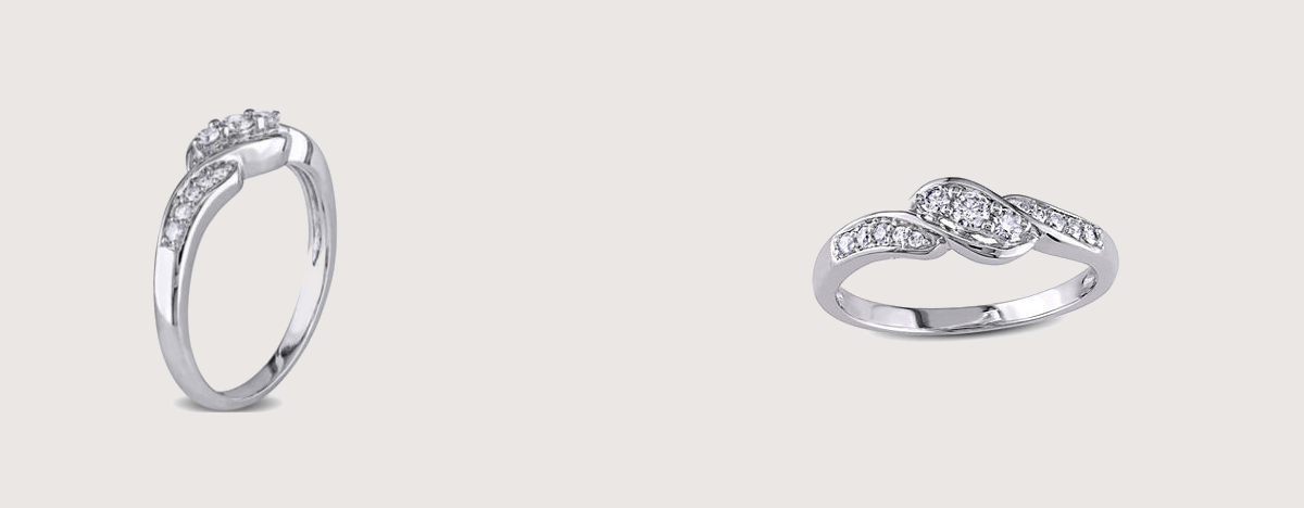 white gold crossover 3 stone promise ring