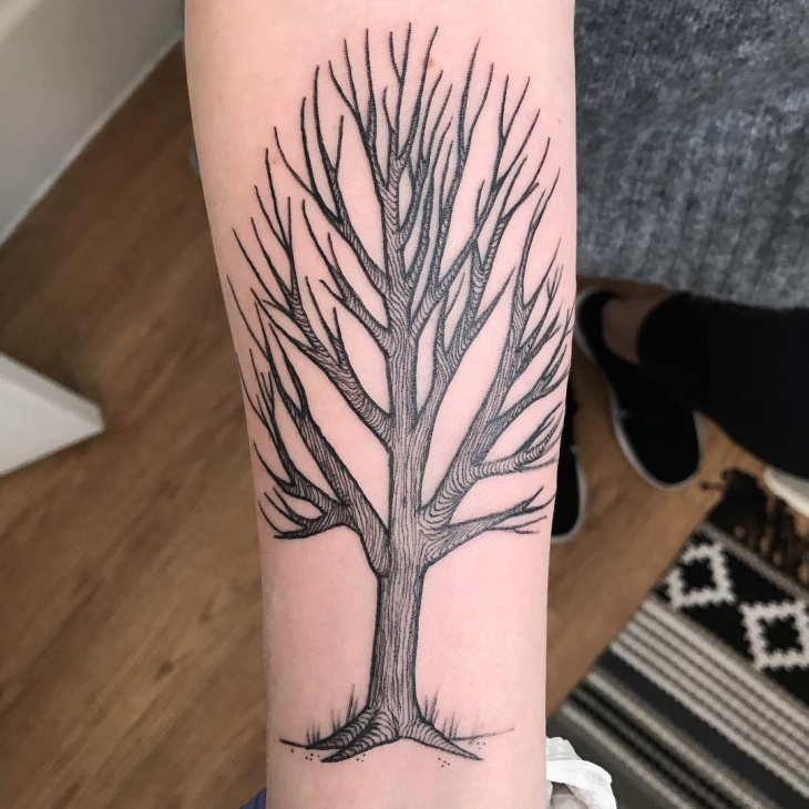 tree forearm tattoo