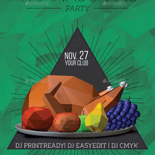 Lowpoly Thanksgiving Party Flyer Template