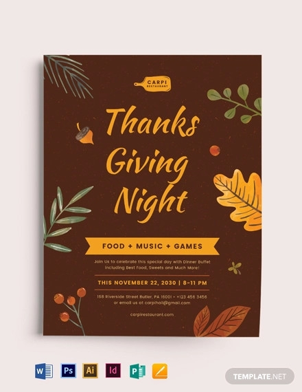 thanksgiving night flyer template