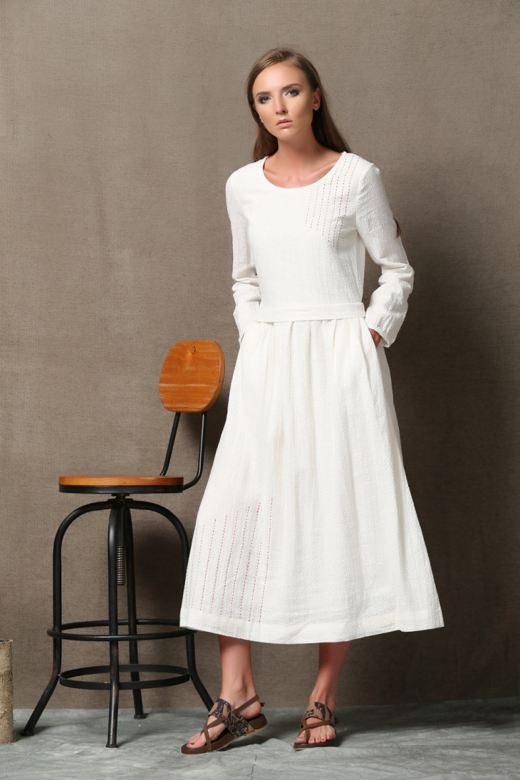 Long Sleeve Winter White Dress